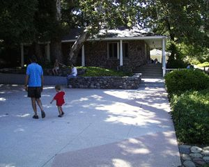 Visitors enjoy the many historical elements of Peter Strauss Ranch on a cool summer day.