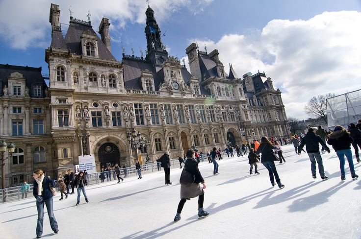Ice skating outside Paris's Hotel de Ville is a winter tradition in the City of Light.