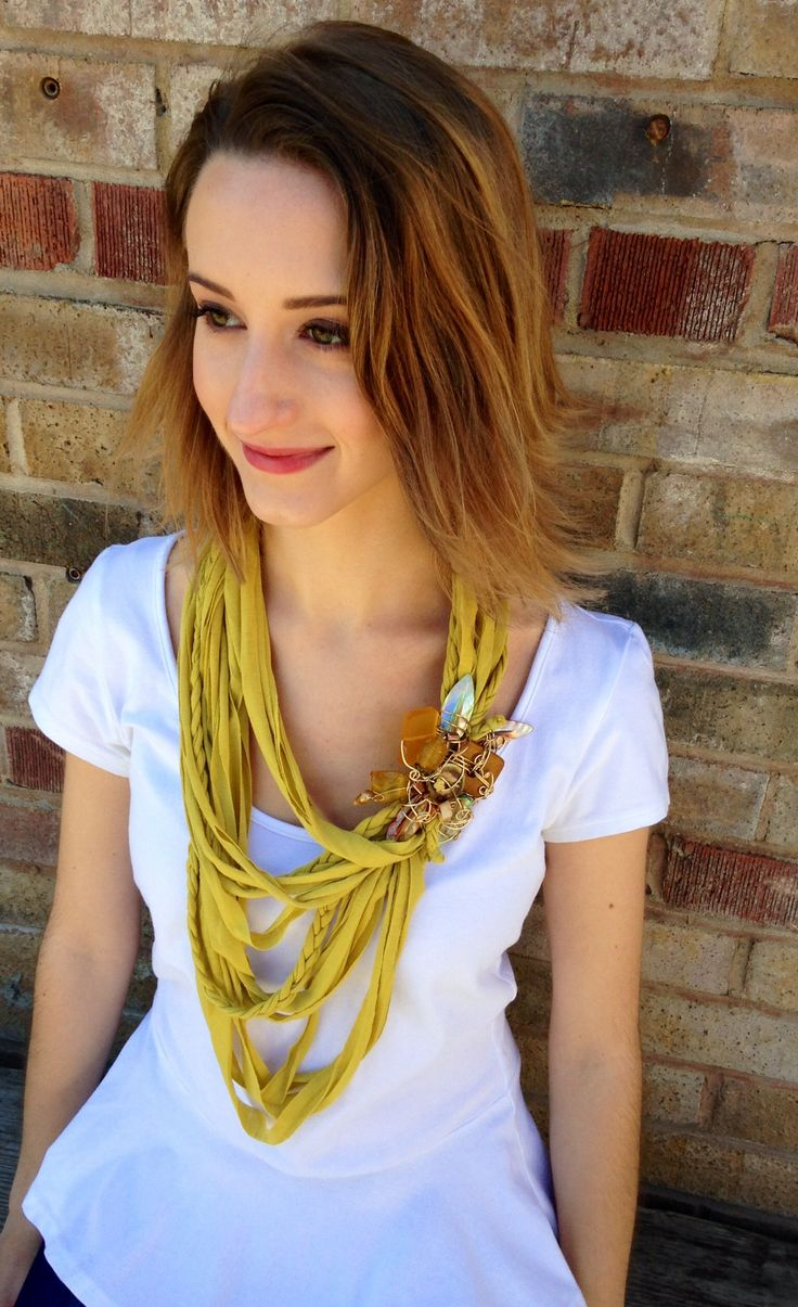 Fresh and fun for the season yellow scarf necklace. Handmade one of a kind with Jade and abalone Mother Of Pearl.