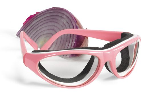 Onion Goggles RSVP - These Onion Goggles by RSVP international are one of the most practical tools you can add to your kitchen.  No more crying, taking long breaks and furiously chewing gum while you cut onions!  These anti-fog clear goggles protect your eyes from tearing while working with onions or other eye irritating foods.  One size fits all with this stylish unisex design.  Goggles come in black, white, pink and red.  Save your tears by purchasing your Onion Goggles today!