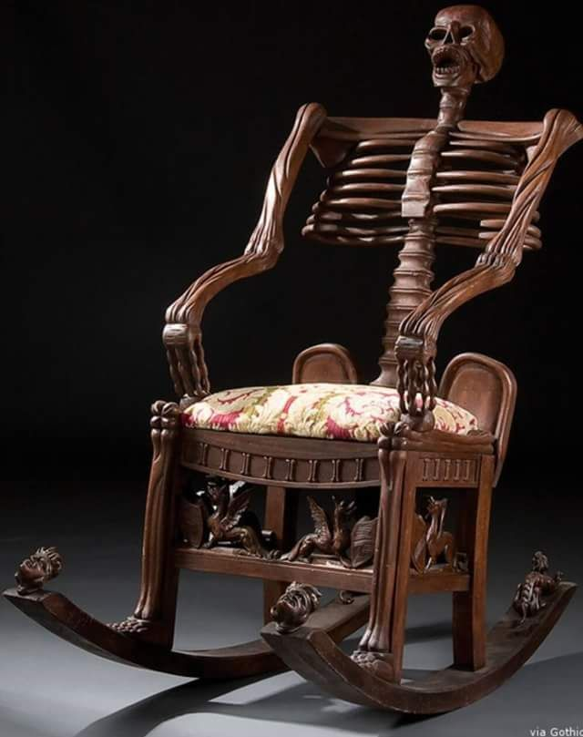 Skeleton Rocking Chair Check us out on Fb- Unique Intuitions #uniqueintuitions #gothic #skull #rockingchair