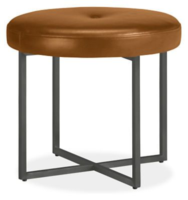 Sidney Modern Leather Round Ottomans - Modern Benches & Stools - Entryway - Room & Board