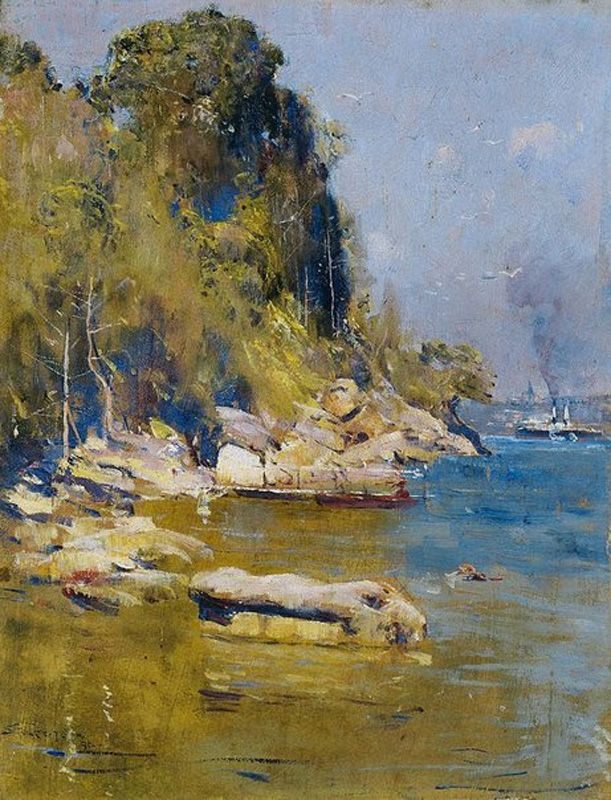 """From My Camp"" (Sirius Cove) by Arthur Streeton (1896) via Wikipedia"