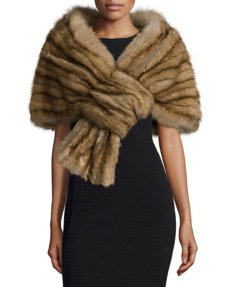 Sable Fur Pull-Through Stole, Golden