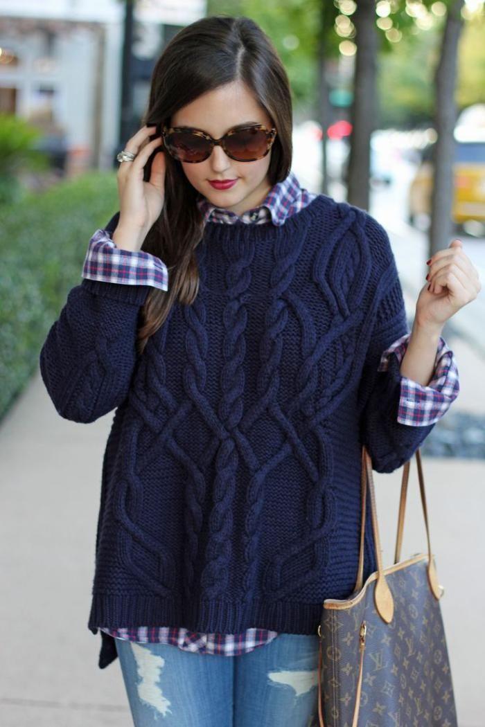 pull irlandais, pull bleu femme, croisades jolies