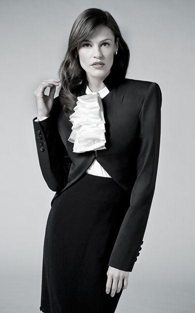 Tuxedo jacket Ruffle blouse Pencil skirt