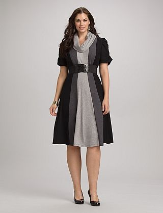 Plus Size Belted Colorblock Dress from Dress Barn. Want this dress, it's adorable!