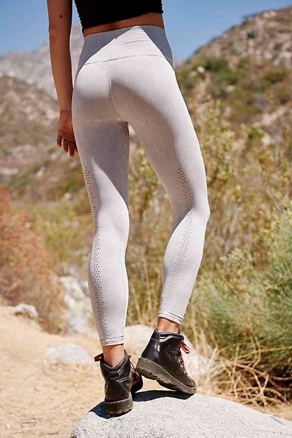4570520b73a57 High Rise 7/8 Length Shanti Legging - Sweat Wicking Light Gray Legging with  Ventilation Pinhole Details