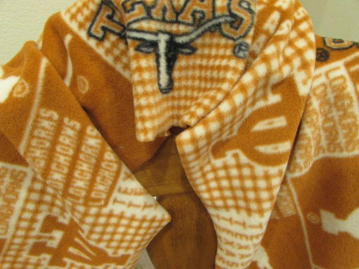 Scarf Muffler - University of Texas UT College Fleece Neckwarmer by UnhungHarps on Etsy