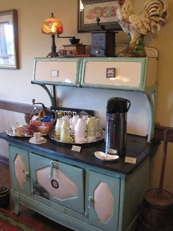 Miller Haus Bed and Breakfast: fun decor. I love this picture of our vintage stove in the dining room. Walnut Creek, OH. Ohio's Amish Country. #millerhaus #leeannmiller #amishcountry