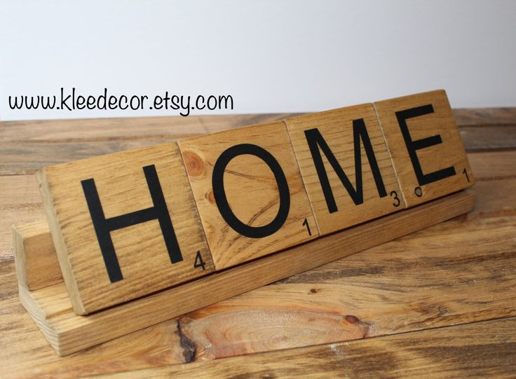 Home decor. Enlarged scrabble tiles and tray. Two sizes available at kleedecor on etsy!