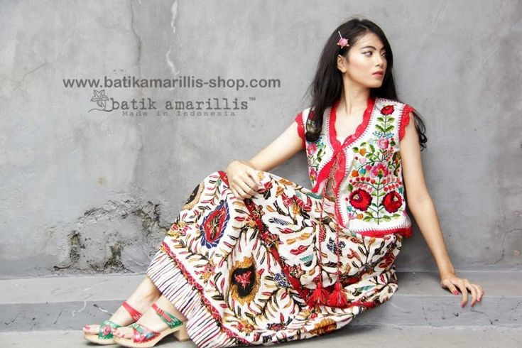 Batik Amarillis made in Indonesia. Proudly presents :Batik Amarillis's Birthday vest Celebrating Batik Amarillis's 7th anniversary we proudly present : A piece of craftsmanship which features Hungarian's Kalocsa Embroidery inspired on raw & beautiful tenun Gedog Tuban also Hand knitted lace or crocheted all over it plus colorful tassels to complete its gorgeousness!!!