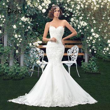 Dressv Encanto Applique Vestidos de Novia de La Sirena Del Cordón Vestidos de Boda Del Amor de la Trompeta piso-longitud vestido de boda de la vendimia de la muchacha