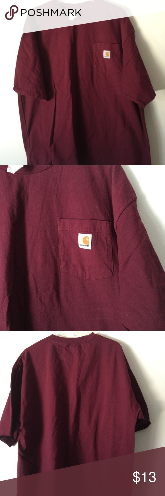Carhartt short sleeve crewneck T-shirt Carhartt short sleeve crewneck T-shirt. Heavyweight 100% cotton work shirt. In excellent condition. MAROON NOT RED Carhartt Shirts Tees - Short Sleeve