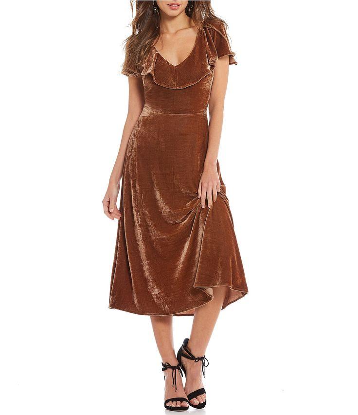 Gianni Bini Nixon Ruffle Sleeve Midi Velvet Dress #Dillards