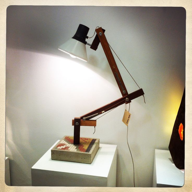 LT1 lamp  concrete base wood arms recycled head