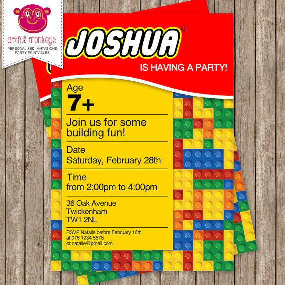 Personalised LEGO Party Invitation  DIY Printable by ArtfulMonkeys