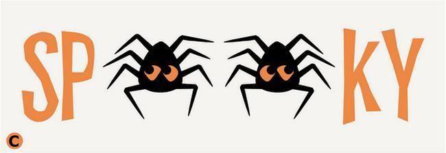 Primitive STENCIL SPOOKY Word With Spiders Halloween Fall Fun Stencil 5.50x16.00 #AmericanaPrimitiveStencils