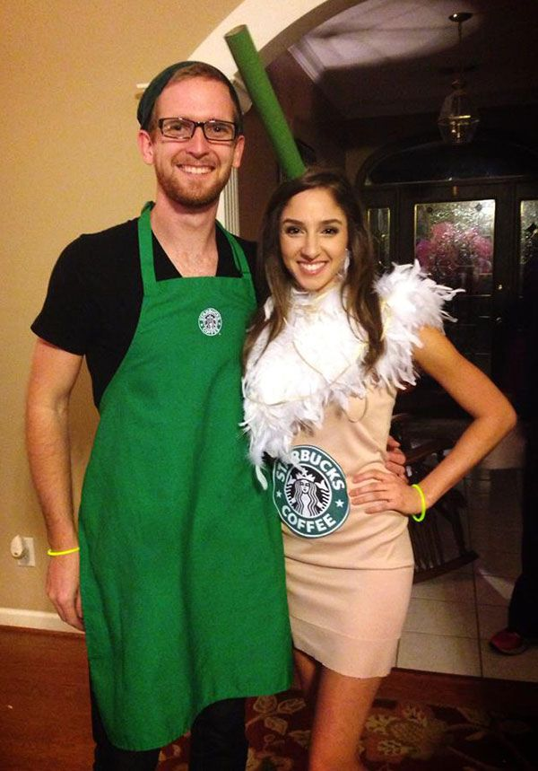 Starbucks Coffee Couples Halloween Costume.  Megan, this is kinda of what you will look like with the dress I got you from forwever 21.  Similar color, but the dress I got you is darker.