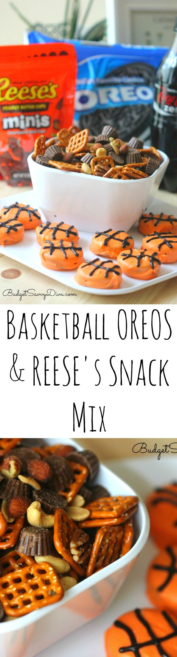 Fun March Madness snack recipe! Basketball OREOS Cookies and REESE's Snack Mix!