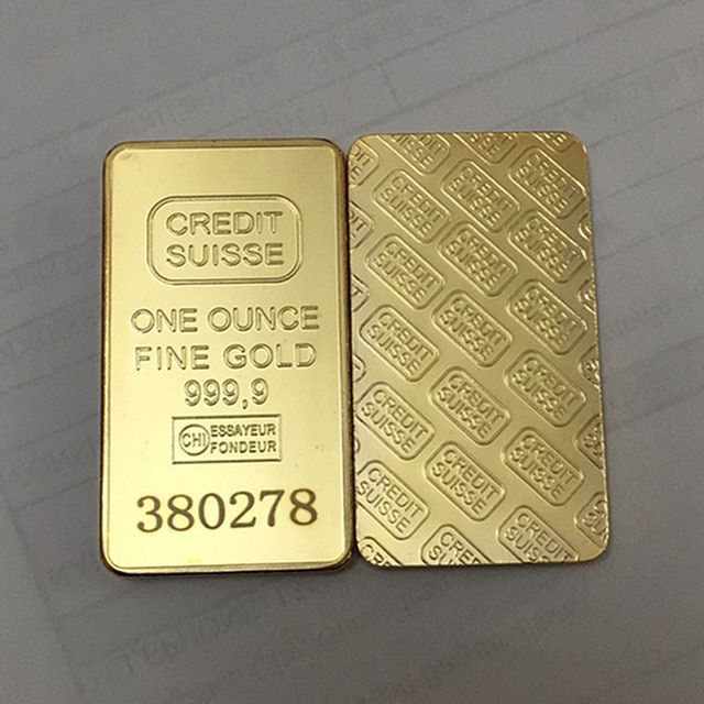 10 Pcs Non Magnetic Credit Suisse Bullion Bar 1 Oz Real Gold Plated Ingot Badge 50 Mm X 28 Mm Coins With Different Serial Number Bullion Credit Suisse Plating