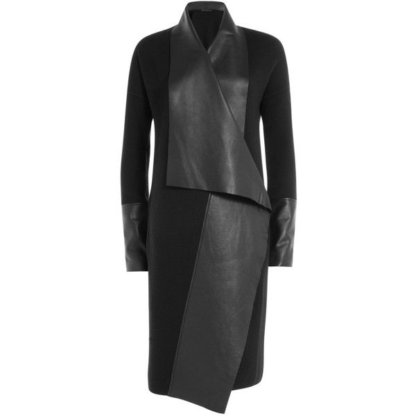 Donna Karan New York Wool Coat With Leather ($2,995) ❤ liked on Polyvore
