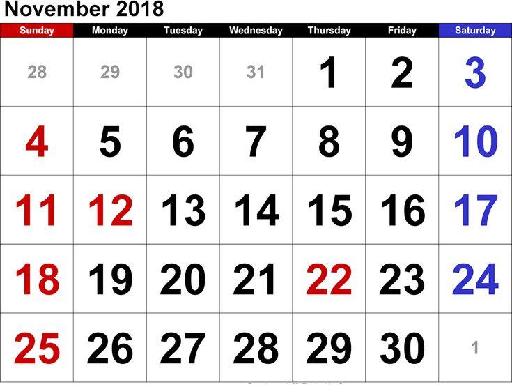 November 2018 Calendar Holidays Free Image November Calendar