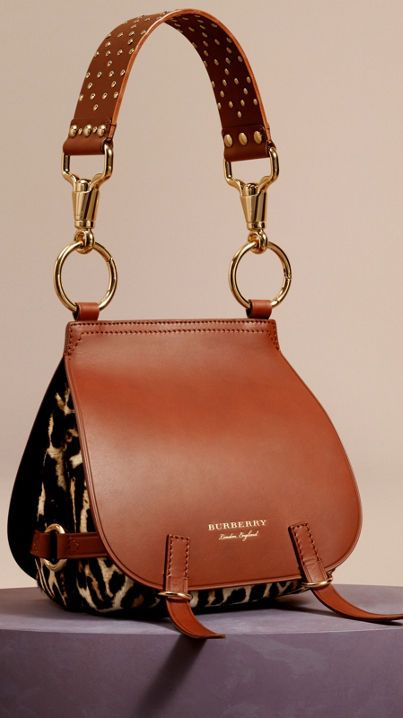 The Bridle Bag in Leopard-print Calfskin and Leather Tan | Burberry