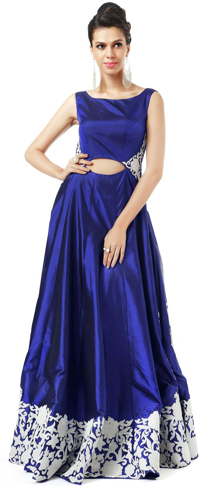 Buy Online from the link below. We ship worldwide (Free Shipping over US$100). Product SKU - 300118 .Product Link - http://www.kalkifashion.com/blue-gown-adorn-in-resham-embroidery-only-on-kalki.html