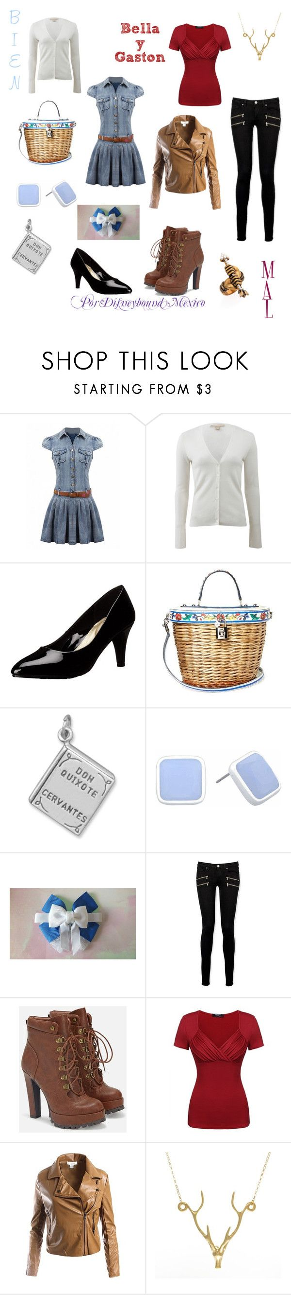"""""""Bella y Gaston (Good vs Evil)"""" by disneybound-mexico ❤ liked on Polyvore featuring Michael Kors, Dolce&Gabbana, BillyTheTree, Liz Claiborne, Paige Denim, JustFab, Sans Souci, Lee Renee and Gucci"""