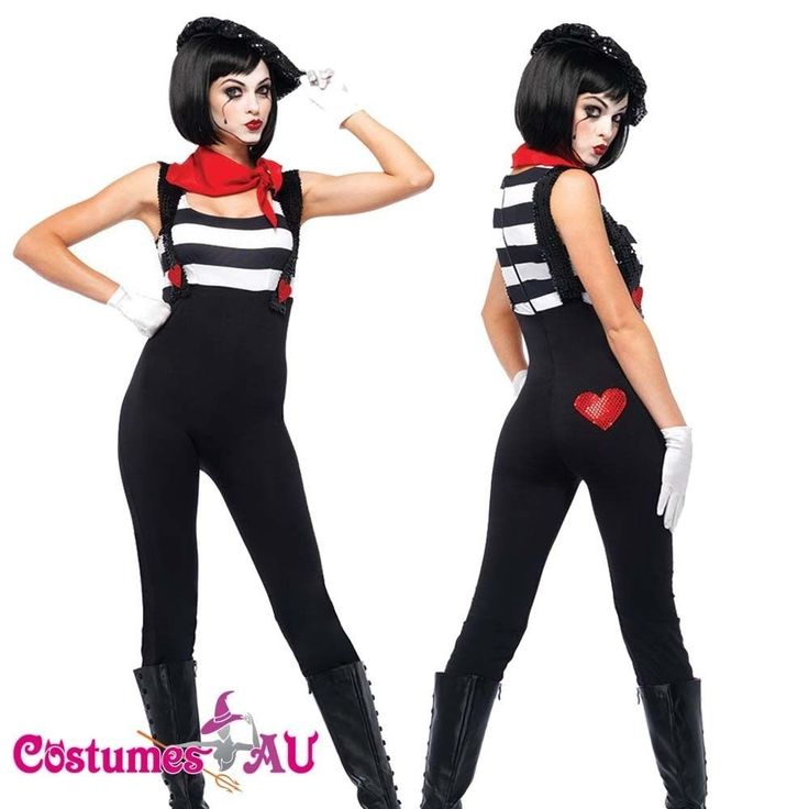 Ladies Mesmerizing Mime Costume French Artist Clown Circus Fancy Dress Outfits | eBay