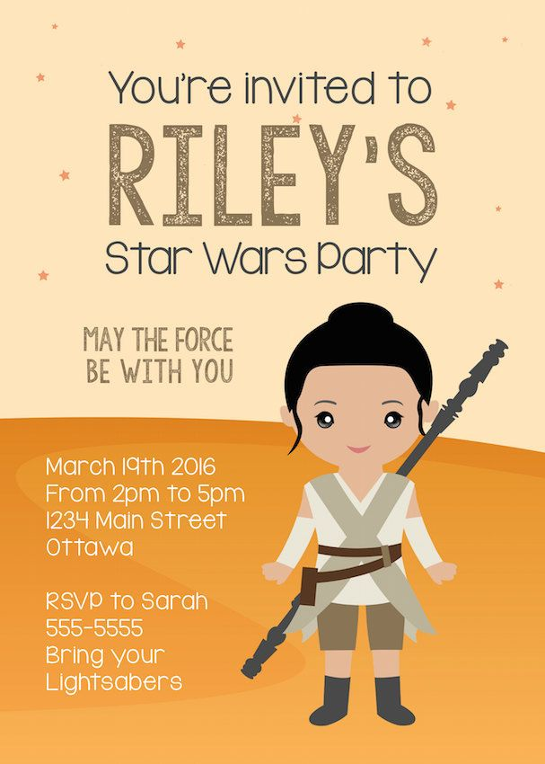 Really cute kawaii Rey party invitations for a Star Wars The Force Awakens birthday party  | Yummy Paper