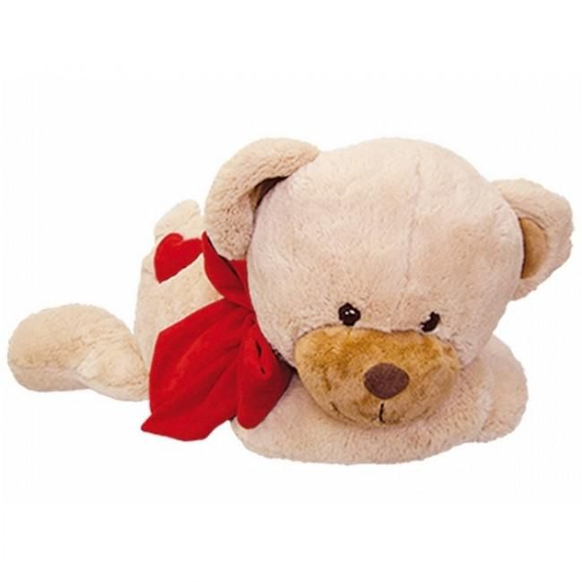 """Deze liggende versie van een van onze """"beren met hart"""" kijkt zo snoezig. Geef hem gauw een aai over zijn bolletje. Elegante, zachte teddybeer met beige vacht, rode strik en een rood hart. Gemaakt van hoge kwaliteit pluche. Perfect cadeau voor Valentijnsdag, en nog veel meer."""