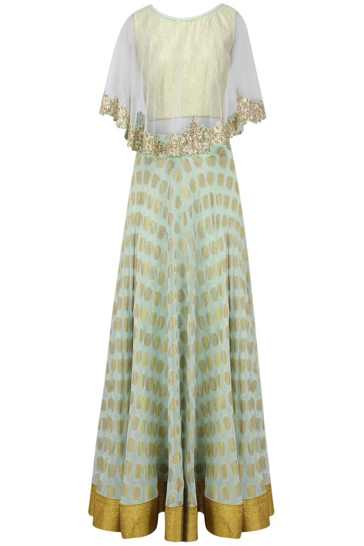 Mint green floral applique brocade lehenga set with mirror work cape available only at Pernia's Pop Up Shop.