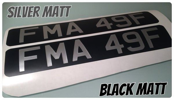 x2 vintage style vespa lambretta number plates in matt or gloss silver or white letters