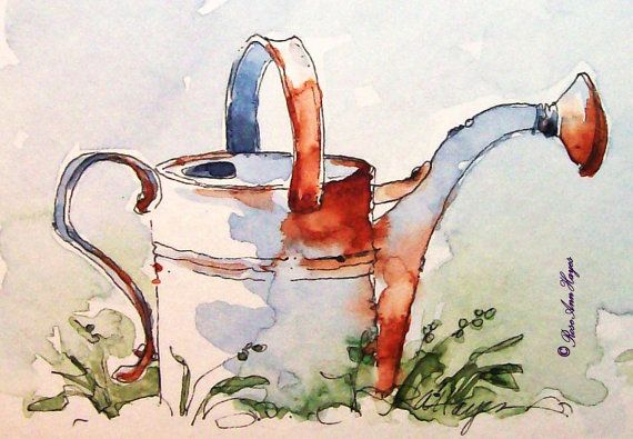 Vintage Watering Can Print of Watercolor Painting ACEO