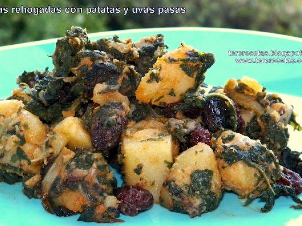 Receta Acelgas rehogadas con patatas y uvas pasas., Muy fácil, Entrante - Petit Chef