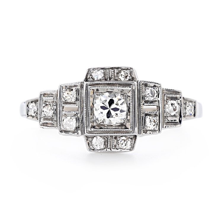 Nice Art Deco Ring  Greenwich Jewelers | Greenwich Ceremony Collection Vintage Diamond Engagement Ring