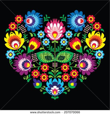 Polish, Slavic folk art art heart with flowers on black - wzory lowickie, wycinanka  - stock vector