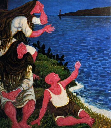 Giuseppe Migneco Notte sullo stretto, 1983 Olio su tela, cm 90x80