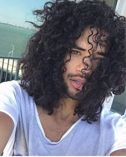 long curly hair men
