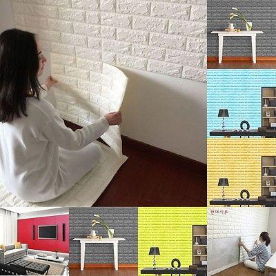 Adesivo 30x Auto-Adesivo De Parede Painéis 3D Pedra Tijolo papel de parede grossa espuma macia
