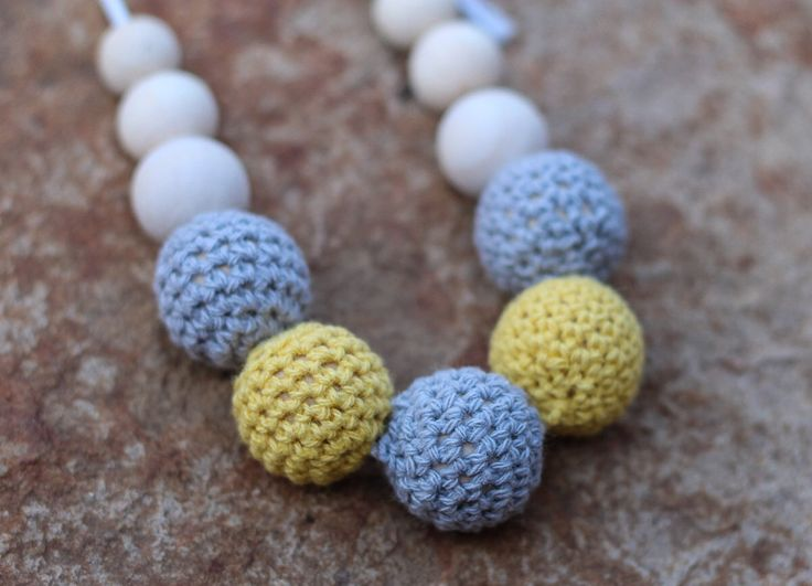 Grey and Yellow Crochet Wooden Bead Necklace ~ Teething Necklace ~ Feeding Necklace by FredandPepperShop on Etsy https://www.etsy.com/au/listing/277756010/grey-and-yellow-crochet-wooden-bead