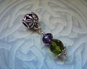 Scottish Thistle Crystal Charm Fits Pandora Charm Bracelet Celtic Symbol Emblem