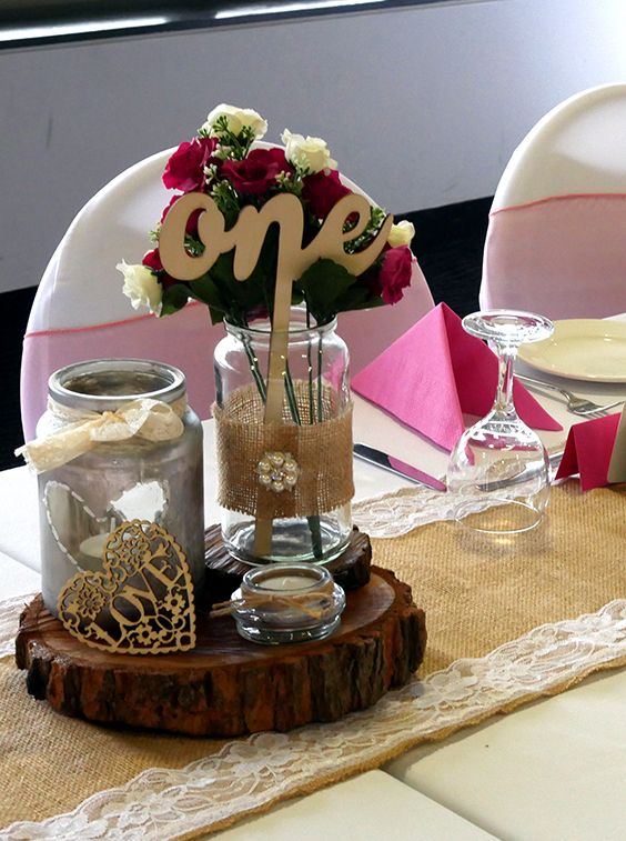 Rustic Centrepiece. Wedding Reception at Centenary Lakes Function Centre
