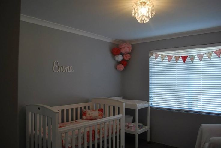 Emma's room  Walls painted I'm silkwort dulux Boori white cot Linens n things 'Emma' quilt