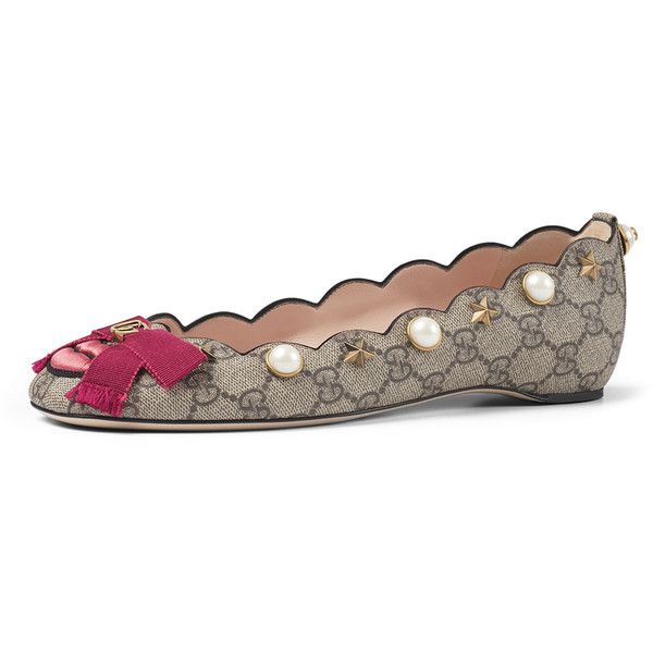 Gucci Lexi Pearly GG Ballerina Flat (18,195 MXN) ❤ liked on Polyvore featuring shoes, flats, multi colors, slip on flats, slip-on shoes, bow ballet flats, studded ballet flats and studded flats
