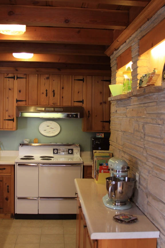 Our 1956 Kitchen - Knotty Pine and Stone - combination ideas for updating retro