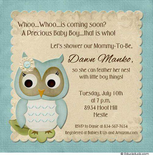 Nice Soft Owl Boy Shower Invitation. Baby Shower Invitation WordingOwl ...