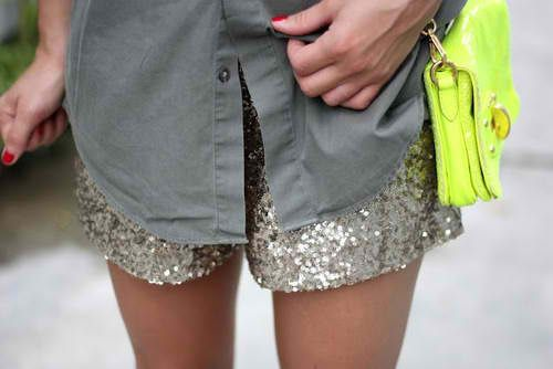 sparkly shorts and neon